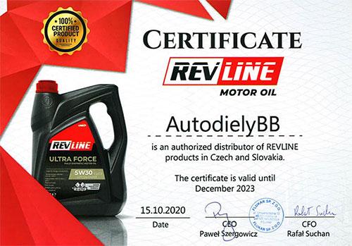 Certifikát autorizovaný distribútor RevLine, Jasol